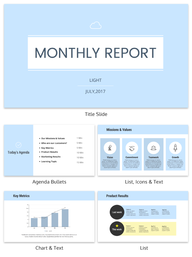 Soft Blue Monthly Business Presentation Template