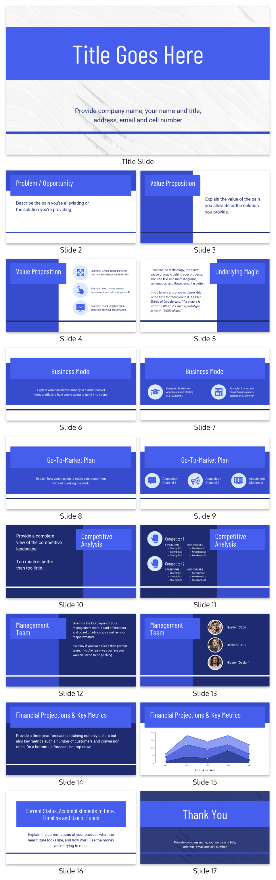 Blue Guy Kawasaki Pitch Deck Template