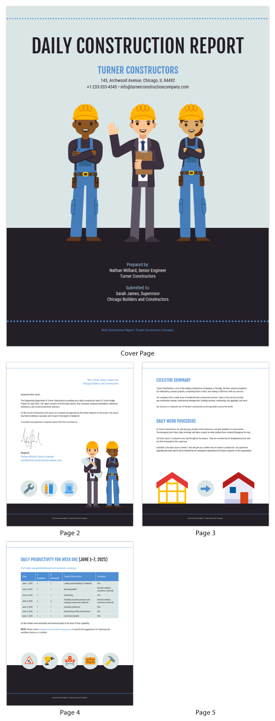 Illustrative Construction Daily Report Template
