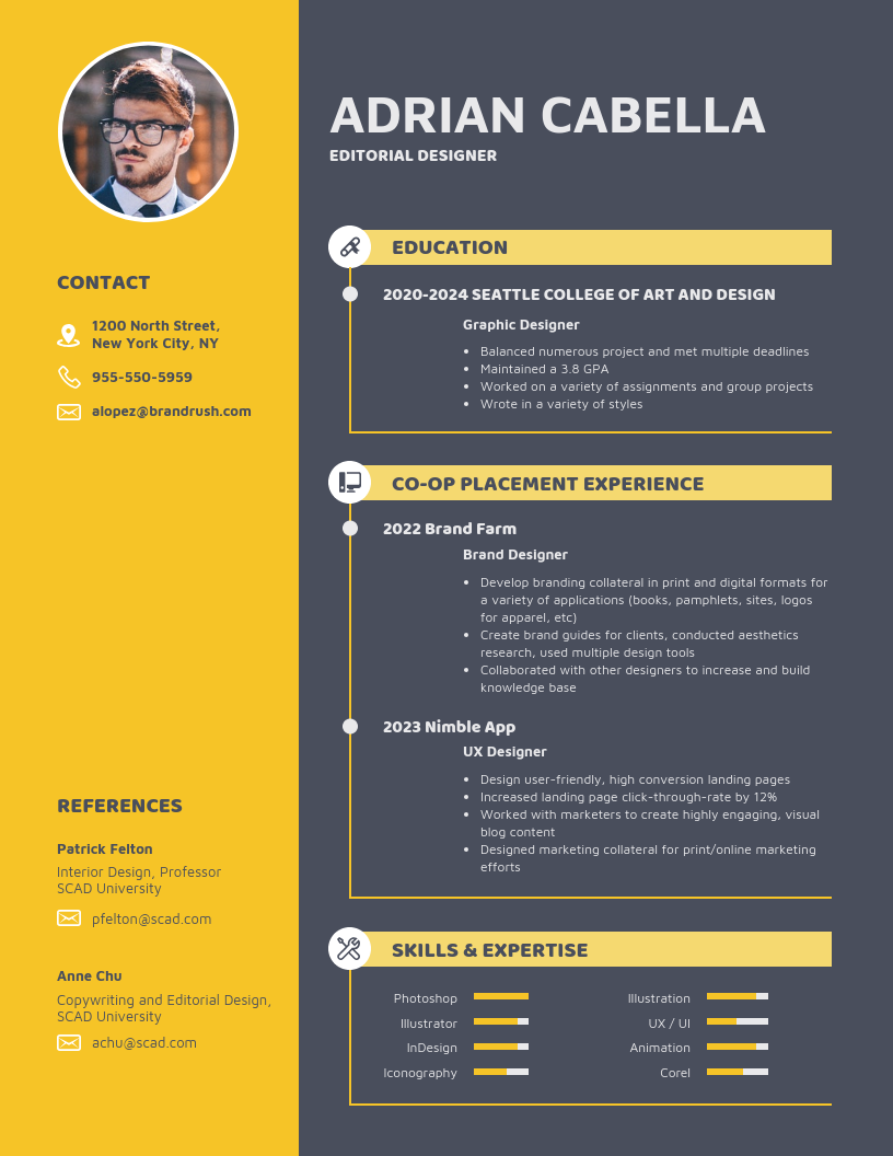 Bold College Student Resume Template