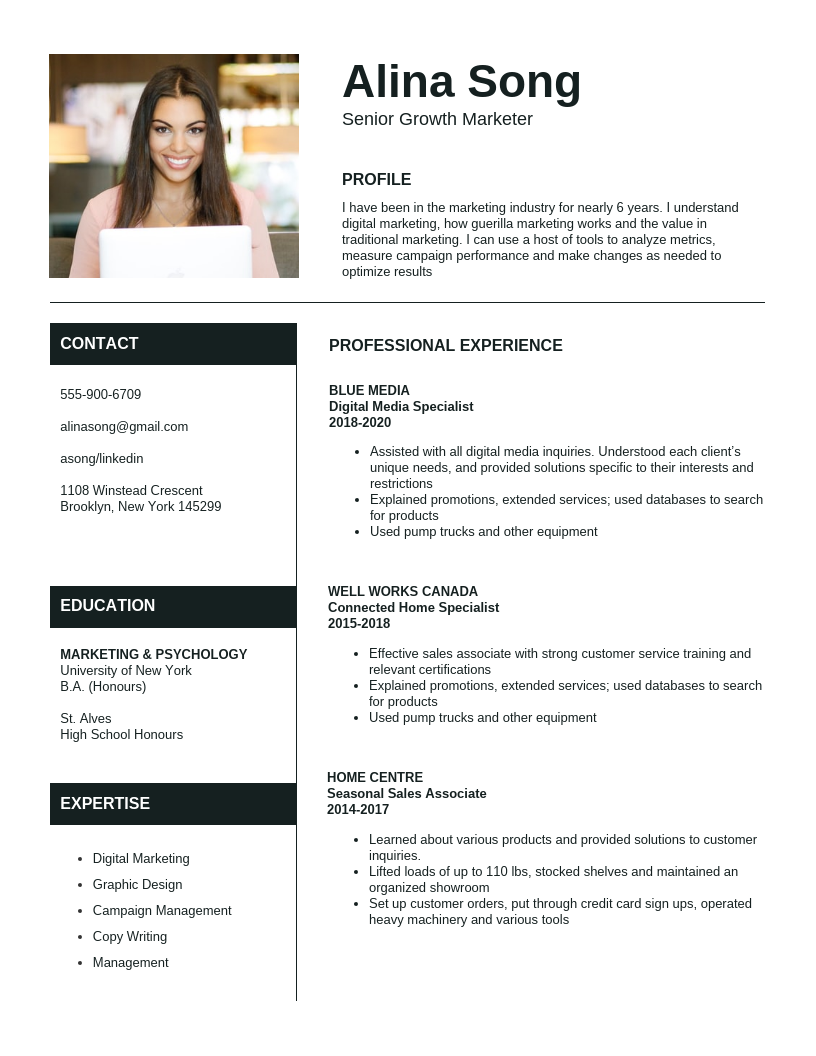 Light Marketer Simple Resume Template