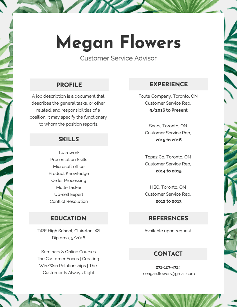 Floral Resume Template