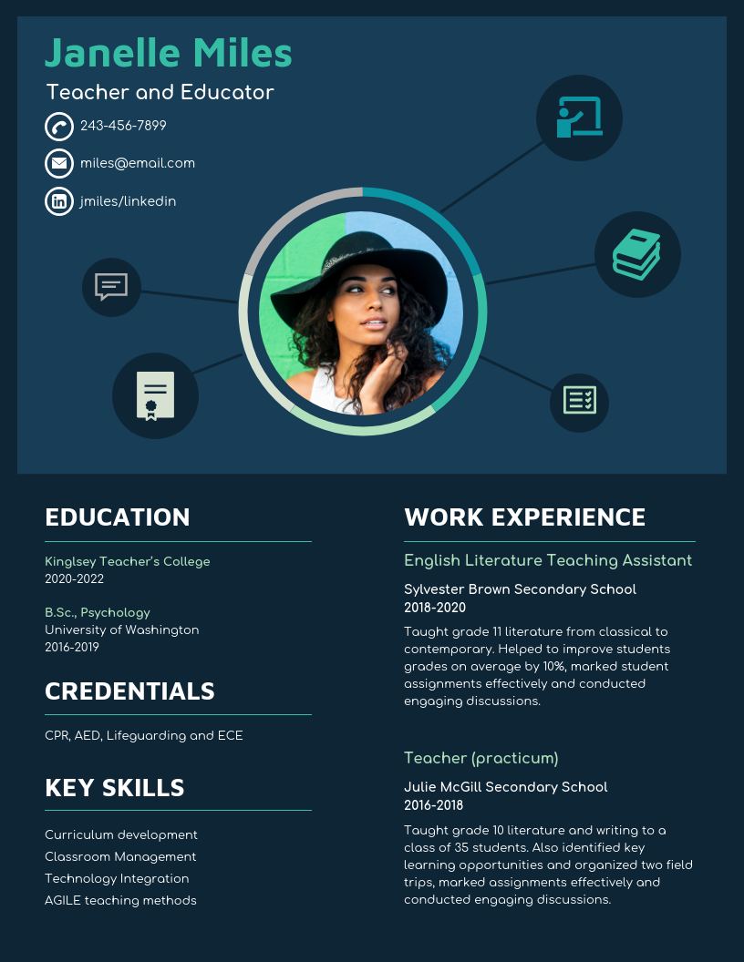 Navy College Student Resume Template