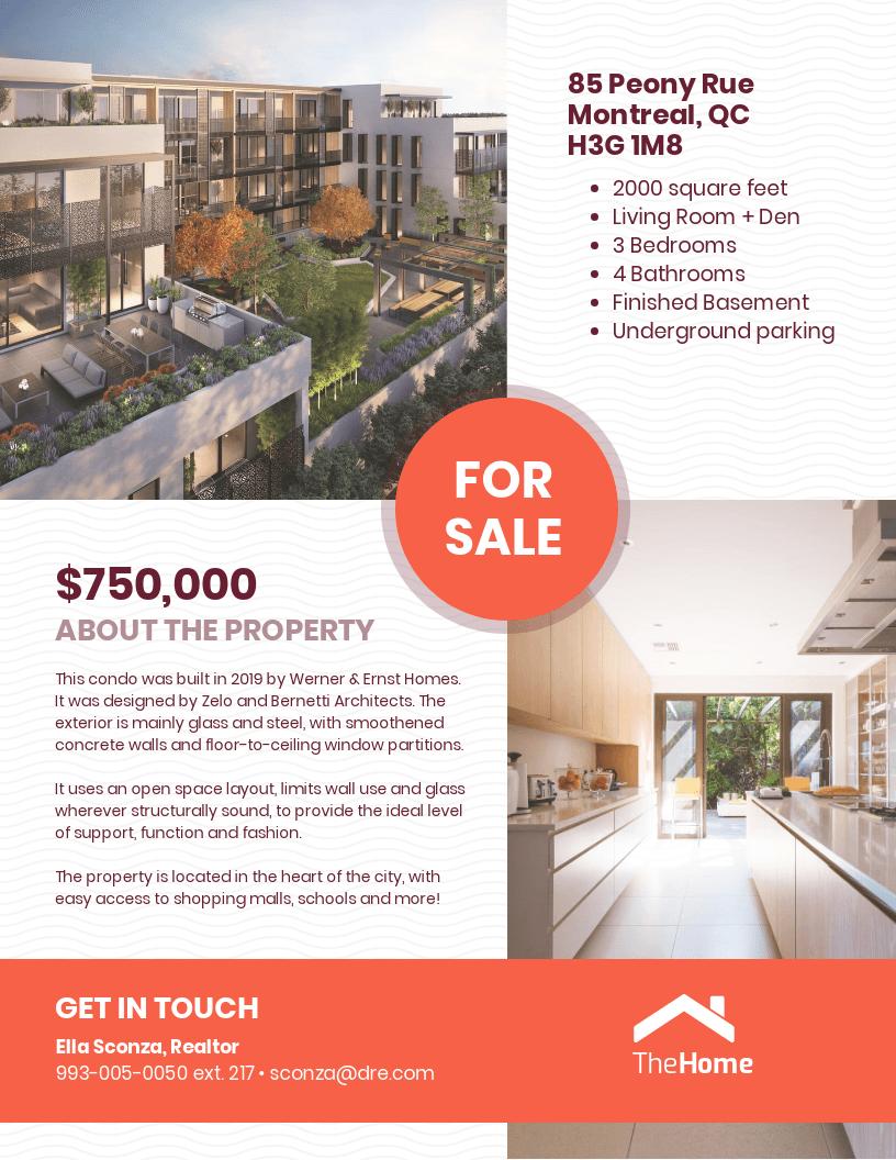 Condo Real Estate Sale Flyer Template