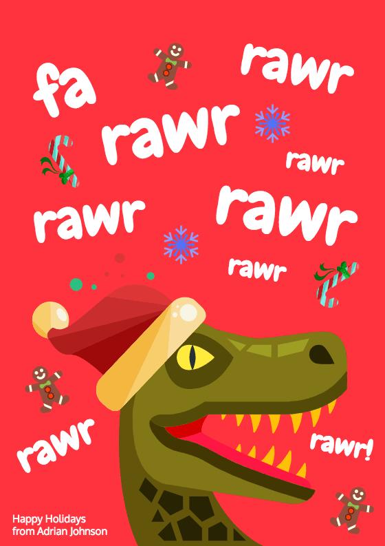 Dinosaur Christmas Card Template - Venngage