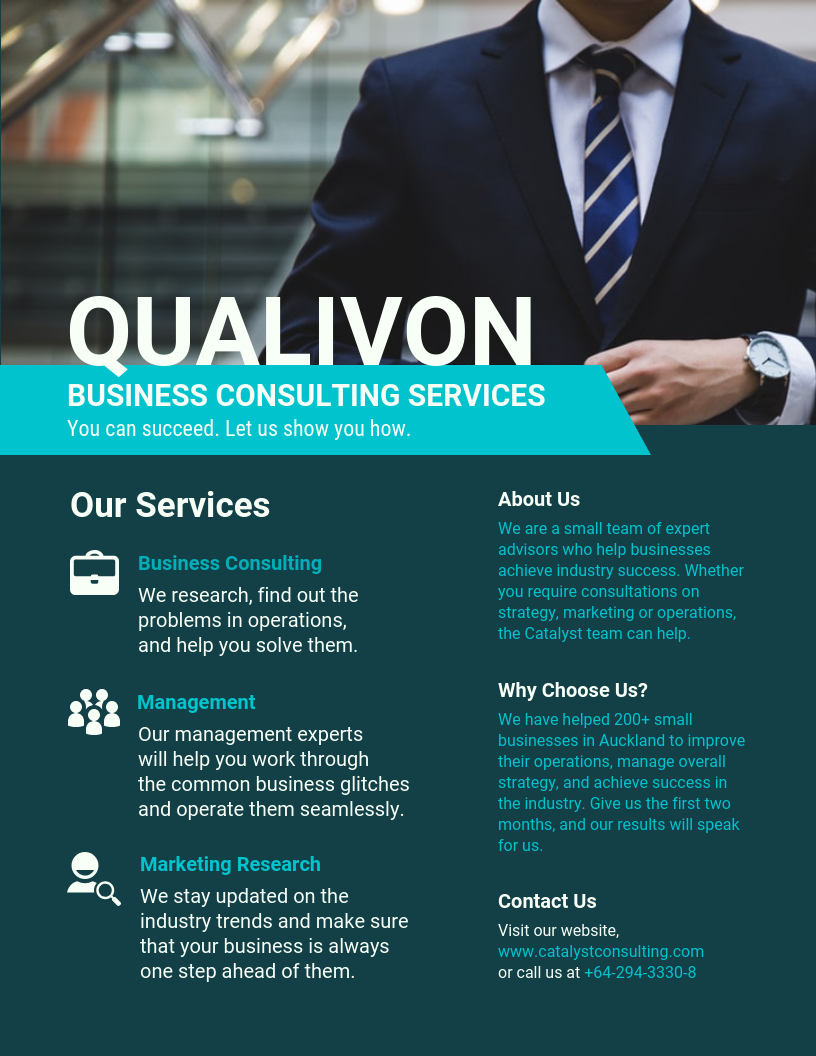 Teal Consulting Services Business Flyer Template