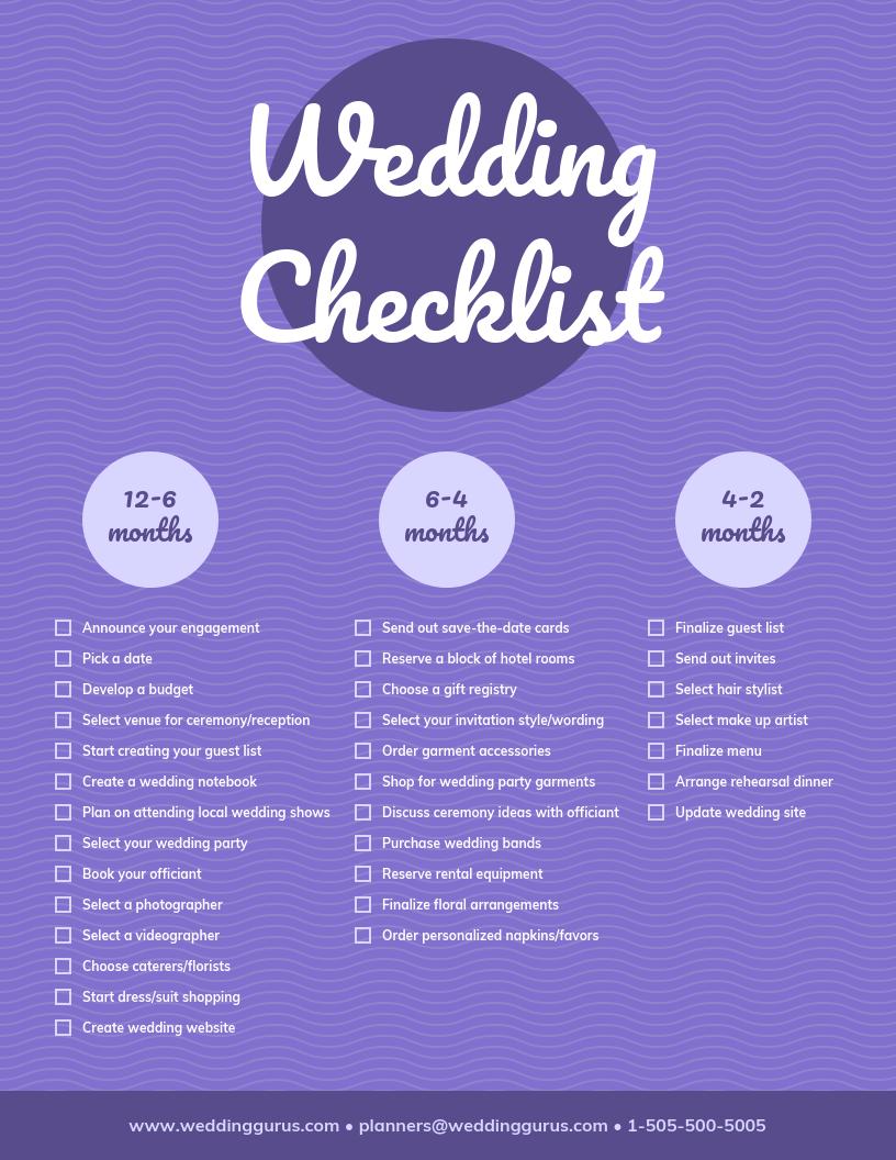 Purple Circle Wedding Checklist Template