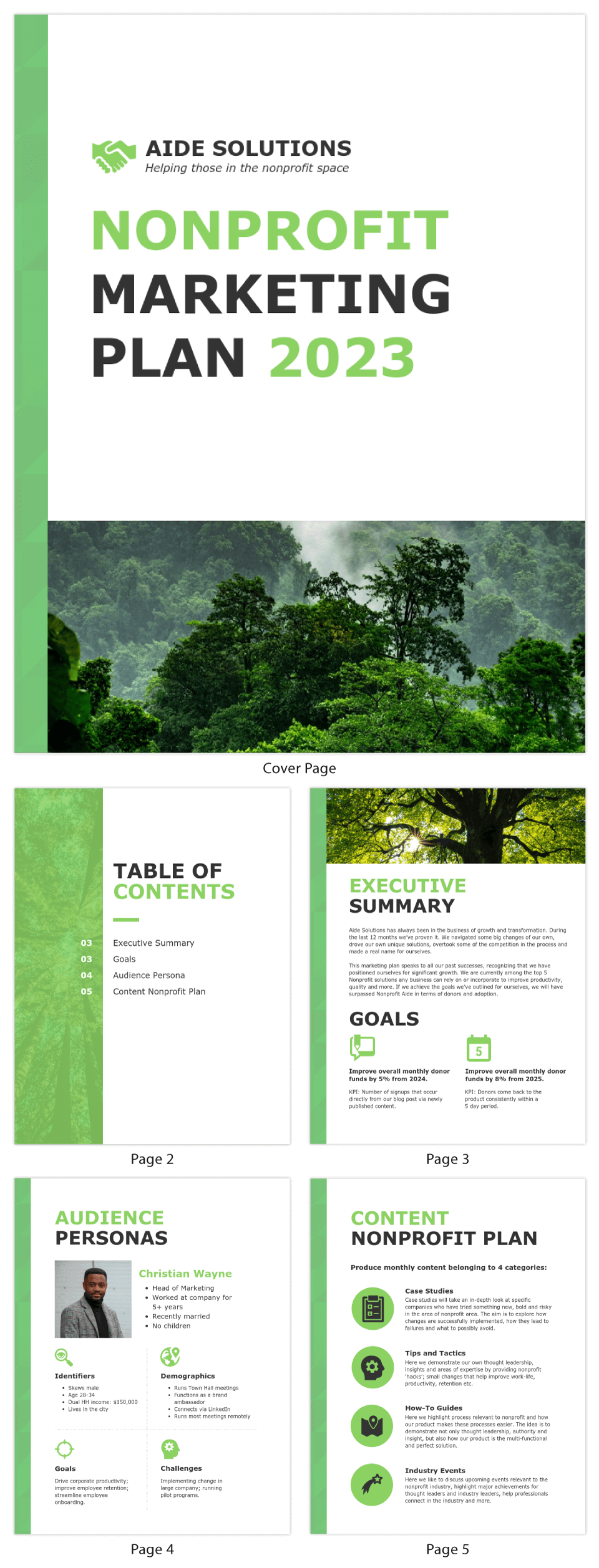 Green Nonprofit Marketing Plan Template