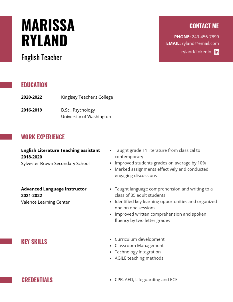resume for student