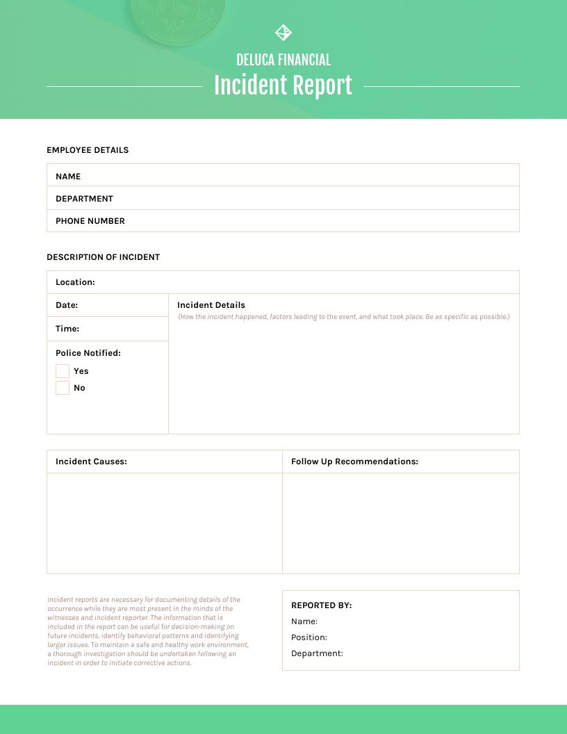 Green Incident Report Template