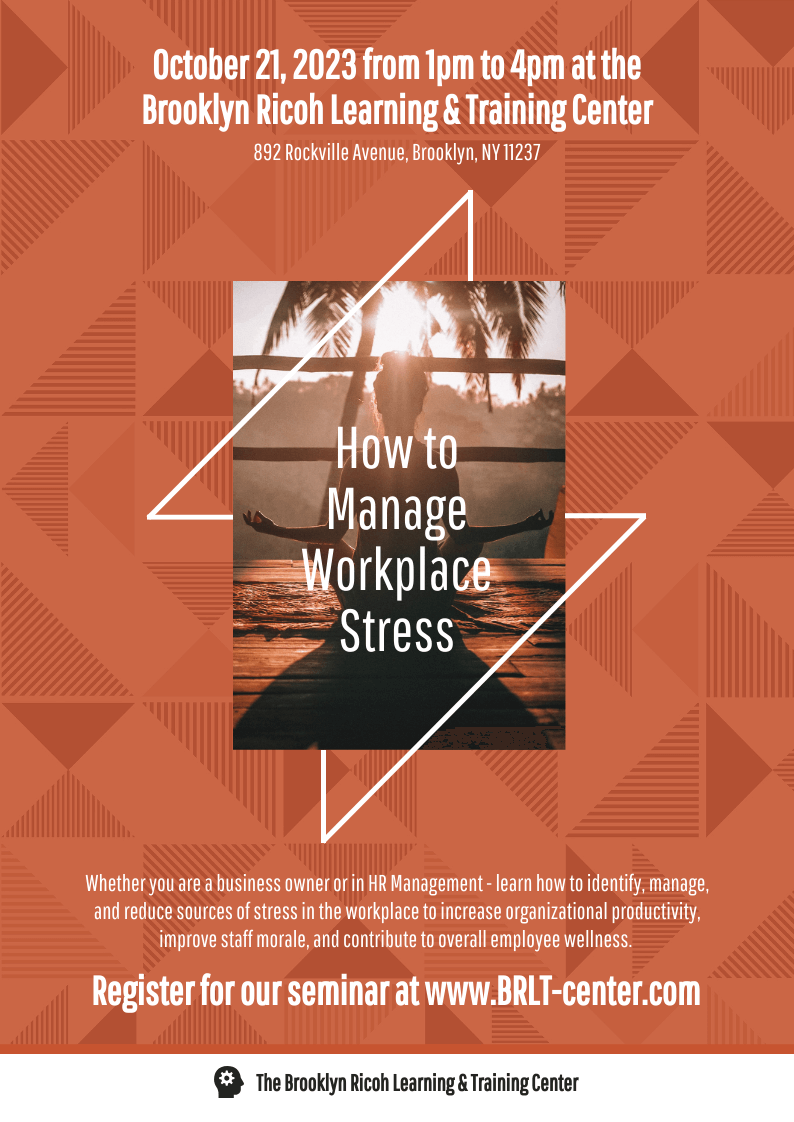 A4 Workplace Stress Management Event Poster Template