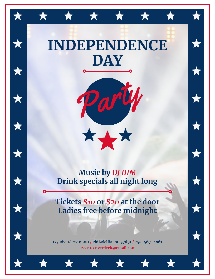 Independence Day Music Party Event Flyer Template