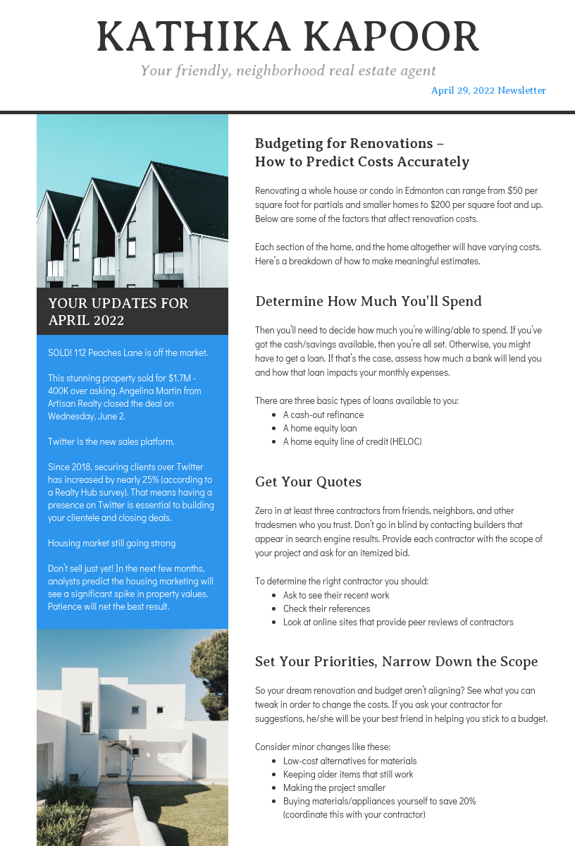 Minimalist Real Estate Agent Newsletter Template
