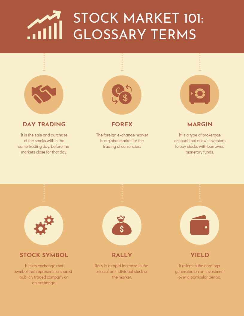 Glossary for Stock Brokers Infographic Template