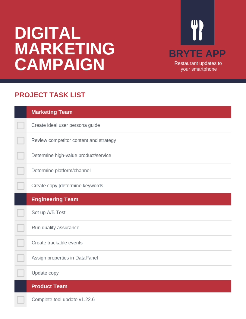 Digital Marketing Project Work Checklist Template