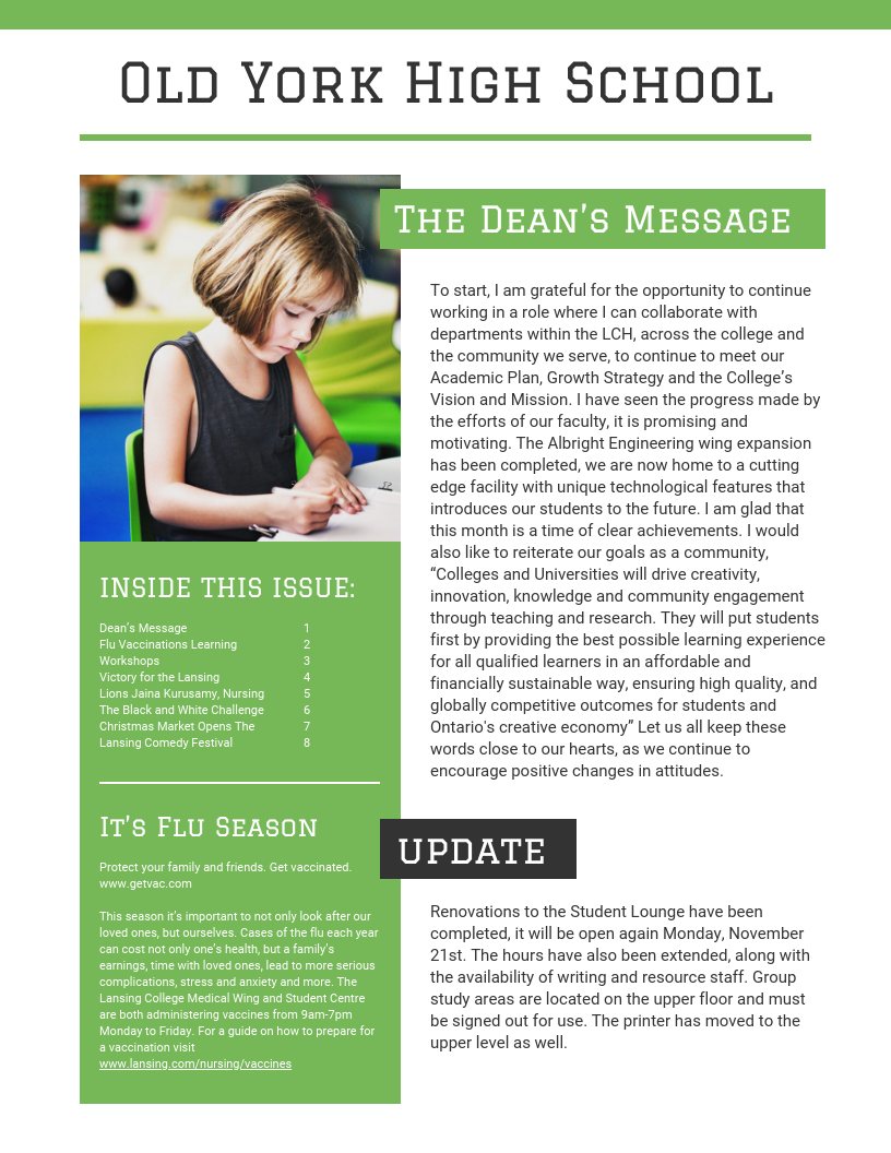 Green High School Newsletter Template