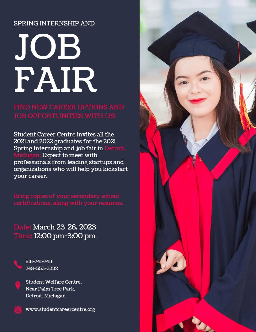 Internship Job Fair Business Flyer Template