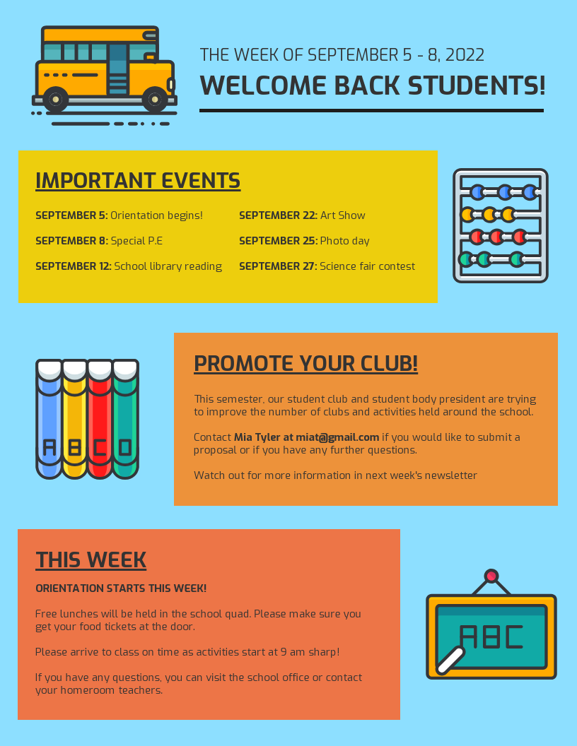Colorful School Newsletter Template
