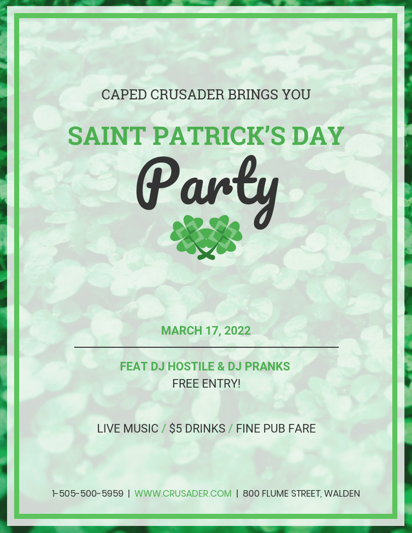 Simple St. Patricks Day Flyer Template