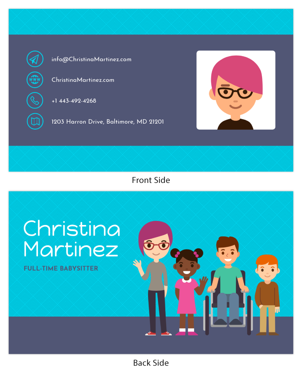 Babysitter Personal Business Card Template