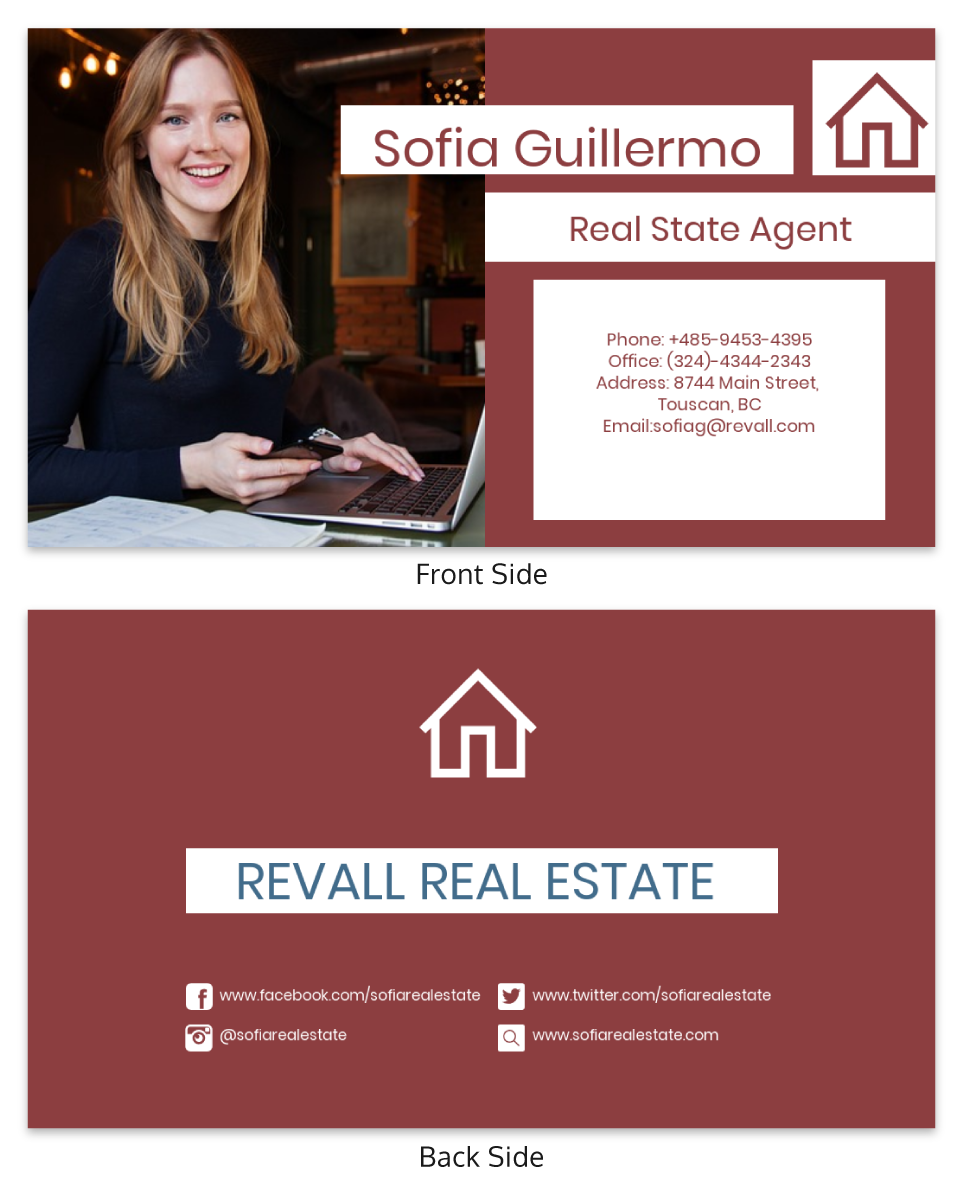 Red Real Estate Business Card Template