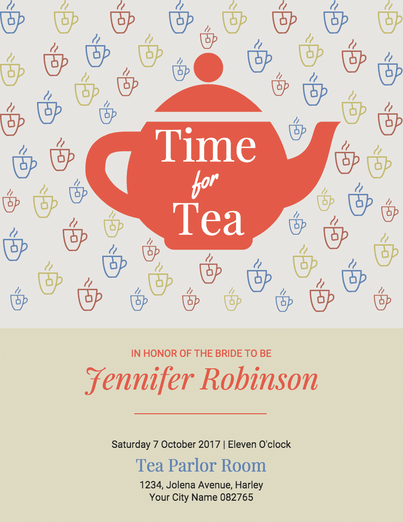 Tea Party Bridal Shower Invitation Template - Venngage