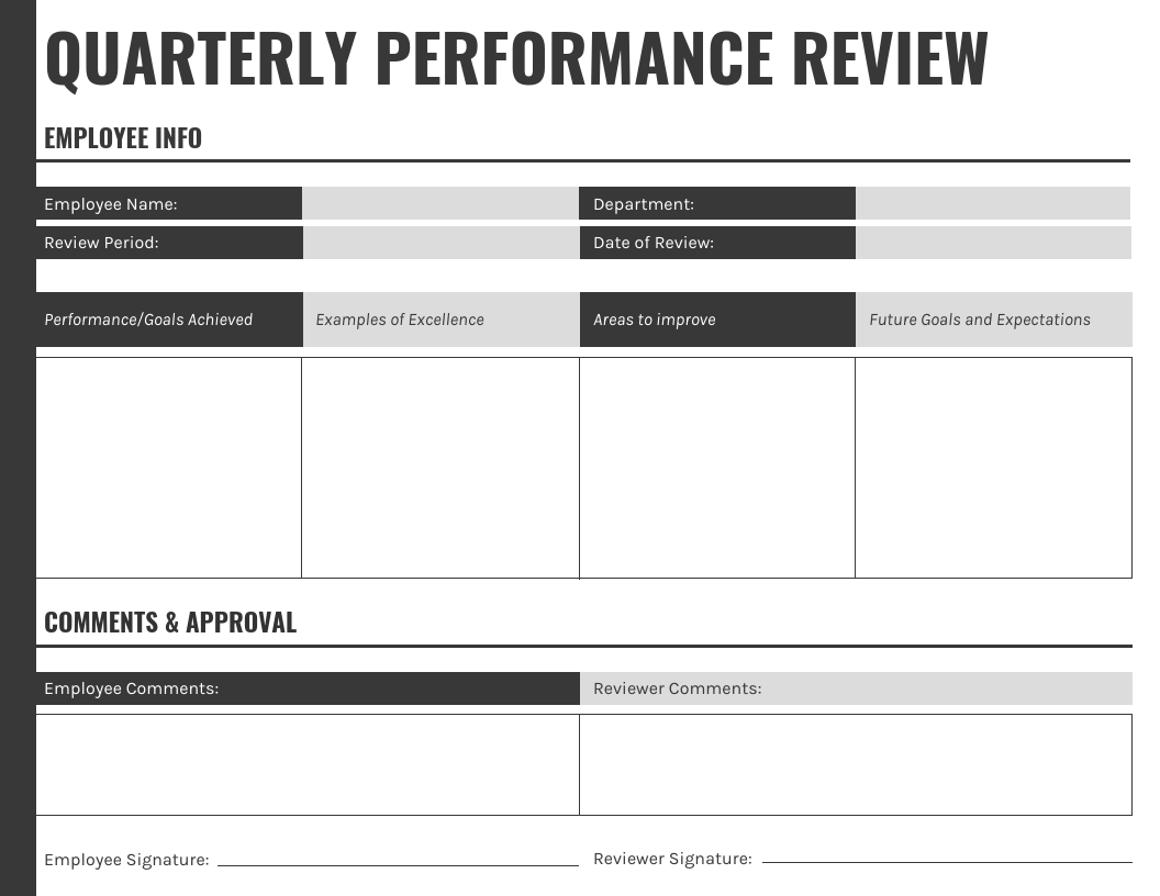 Gray Landscape Quarterly Performance Review Template
