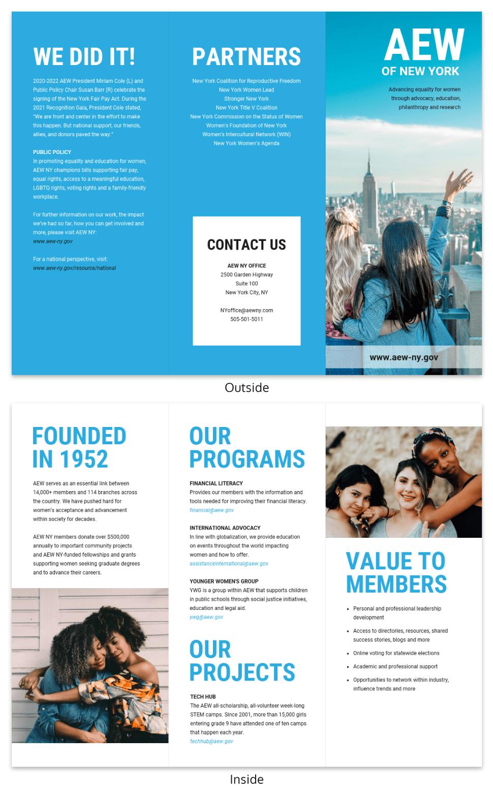 Blue Non Profit Tri Fold Brochure Template