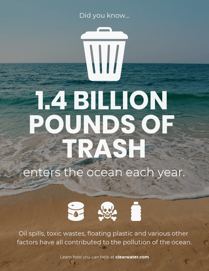 Ocean Pollution Infographic Template