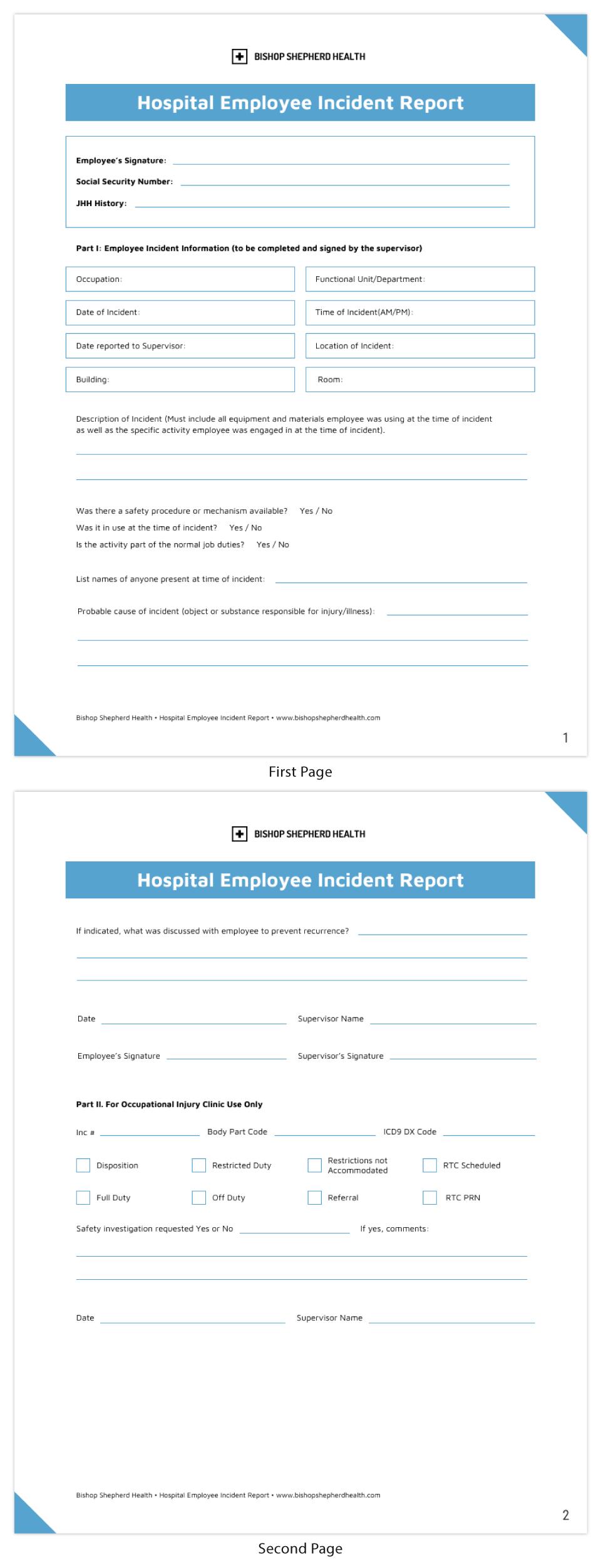 Blue Nursing Incident Report Template With Regard To Nurse Report Template