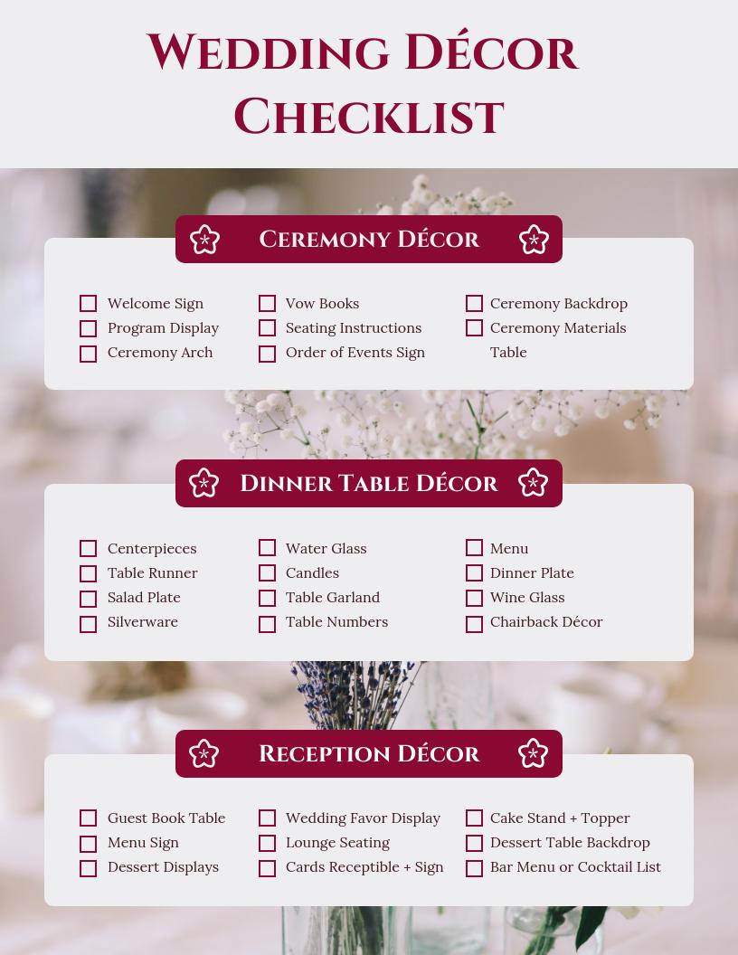 Wedding Decor Checklist.Monarch Wedding Decor Checklist Template Template Venngage