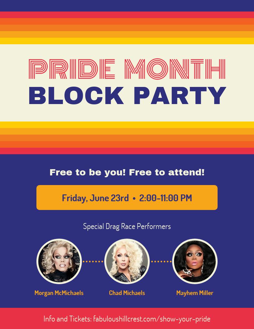Retro Pride Block Party Event Flyer Template
