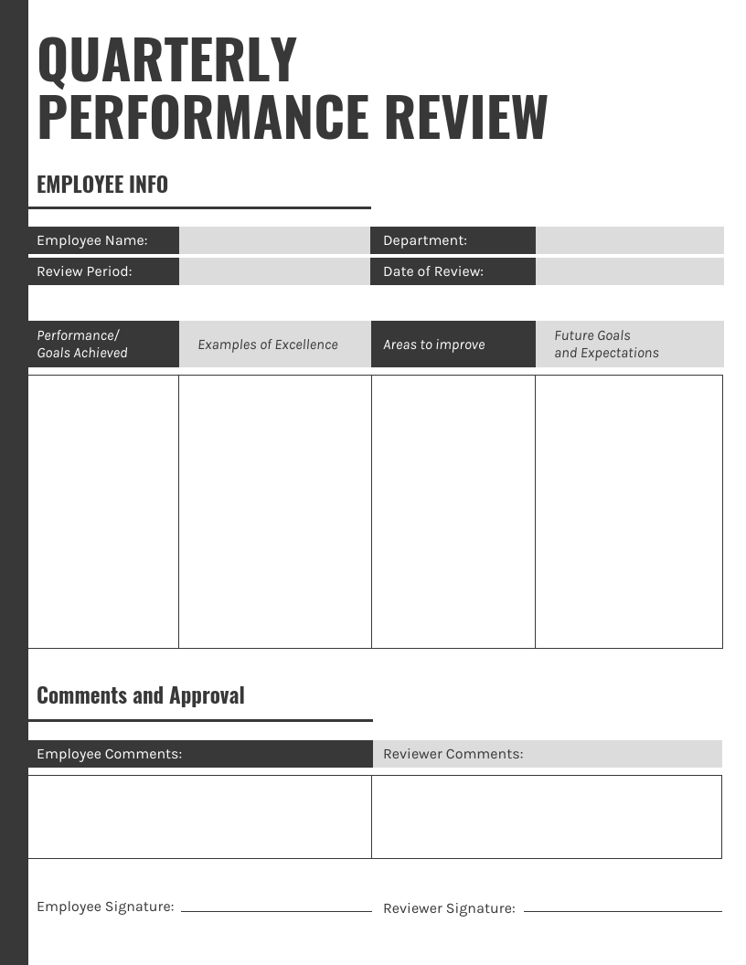 Gray Quarterly Performance Review Template