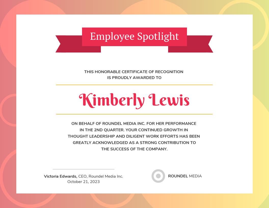 Gradient Employee Recognition Certificate Template For Volunteer Certificate Templates