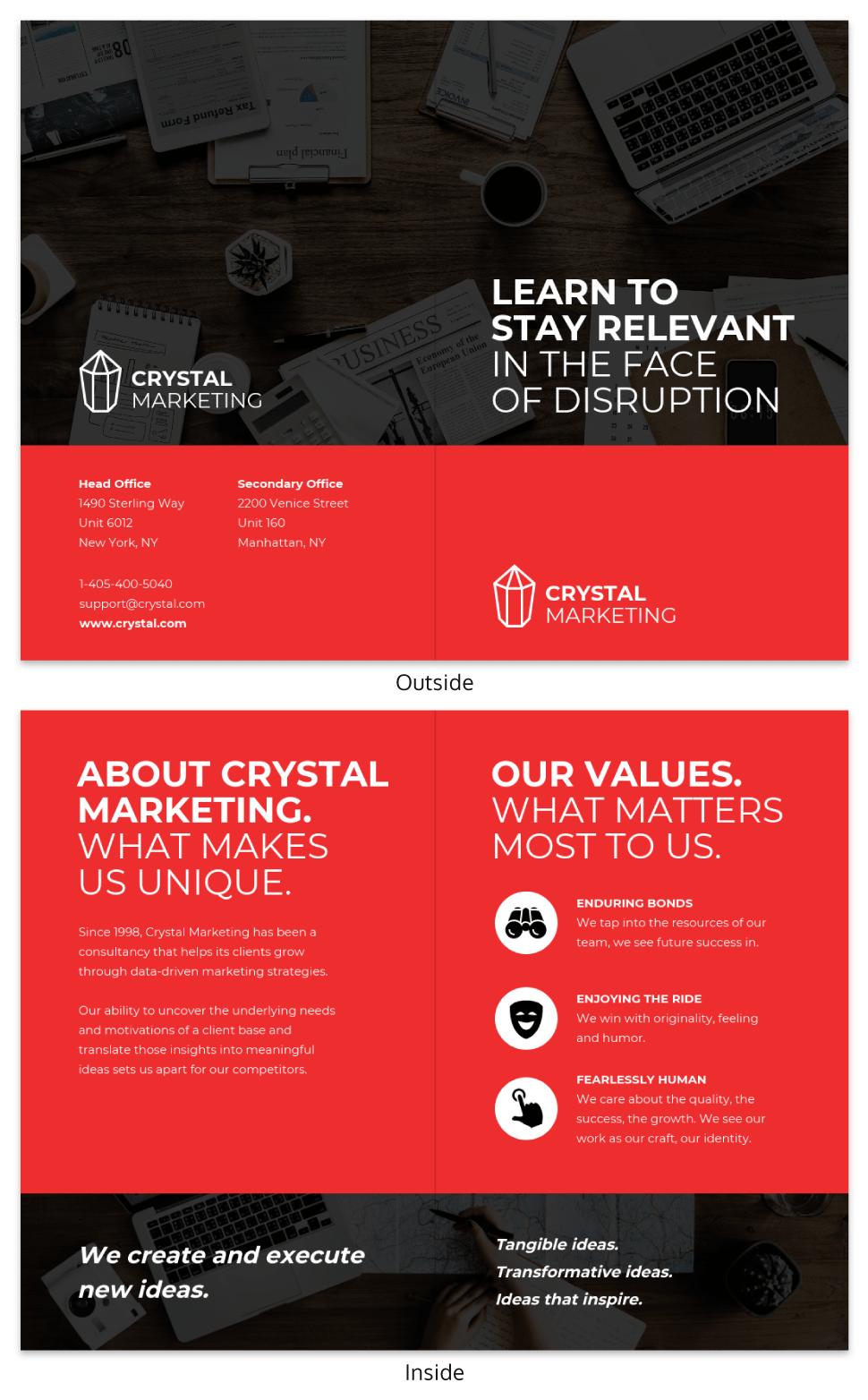Red Marketing Consultant Bi Fold Brochure Template