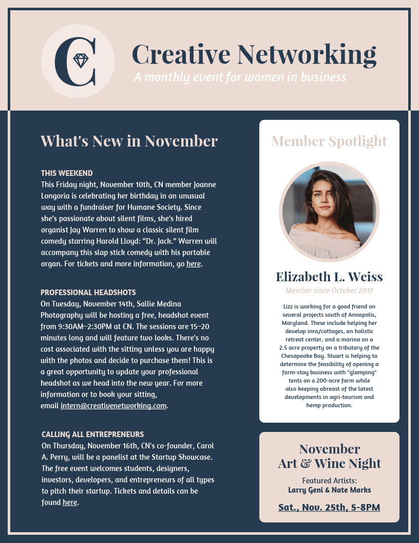 Networking Newsletter Template