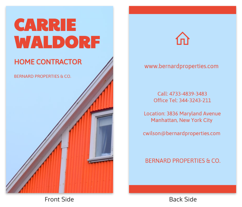 Home Contractor Vertical Business Card Template