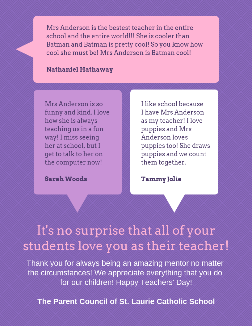 Student Quotes Teachers Day Thank You Card Template