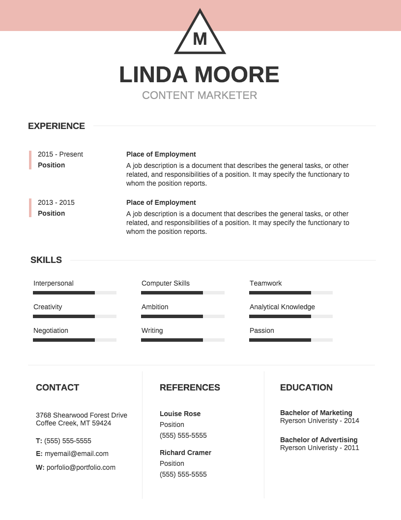 Basic Professional Resume Template Venngage