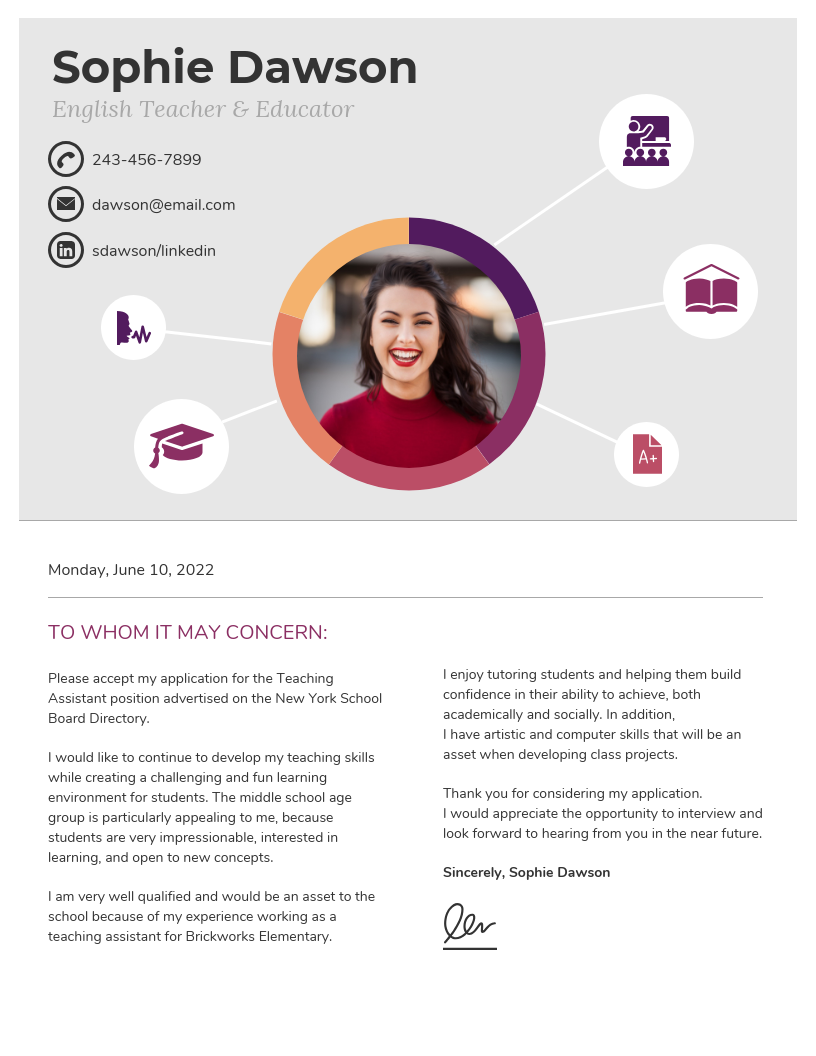 Light College Student Cover Letter Template