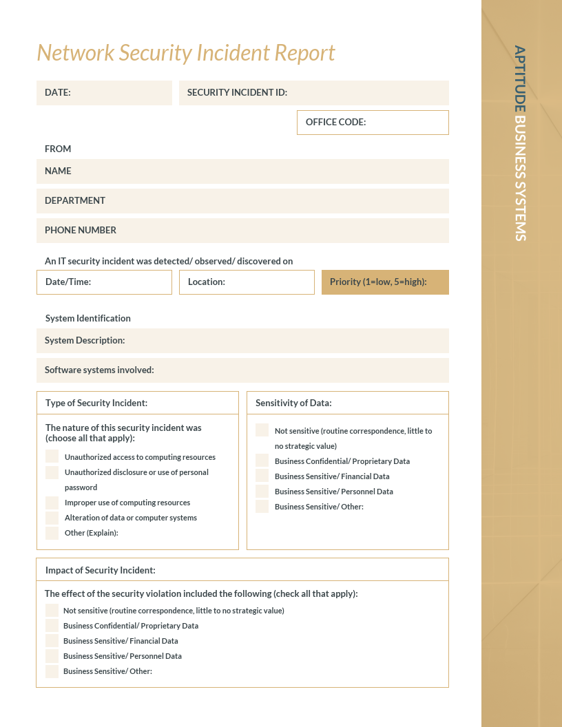 Vintage IT Incident Report Template