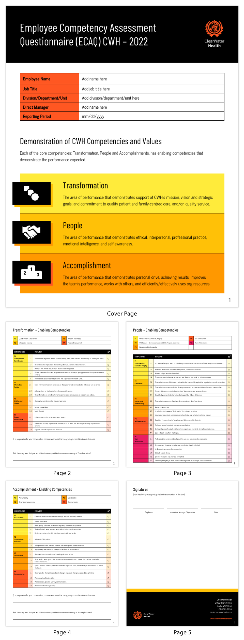 Health Employee Competency Assessment Questionnaire Template