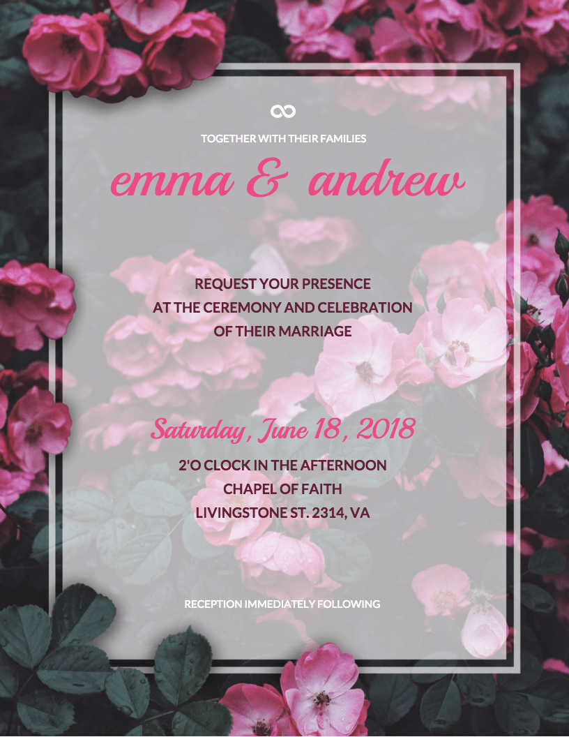 Floral Wedding Invitation Template - Venngage