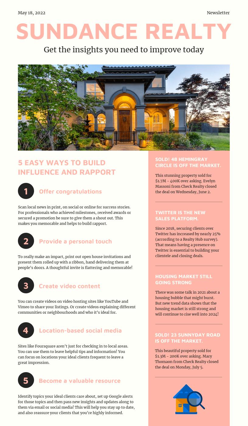 Light Peach Real Estate Newsletter Template