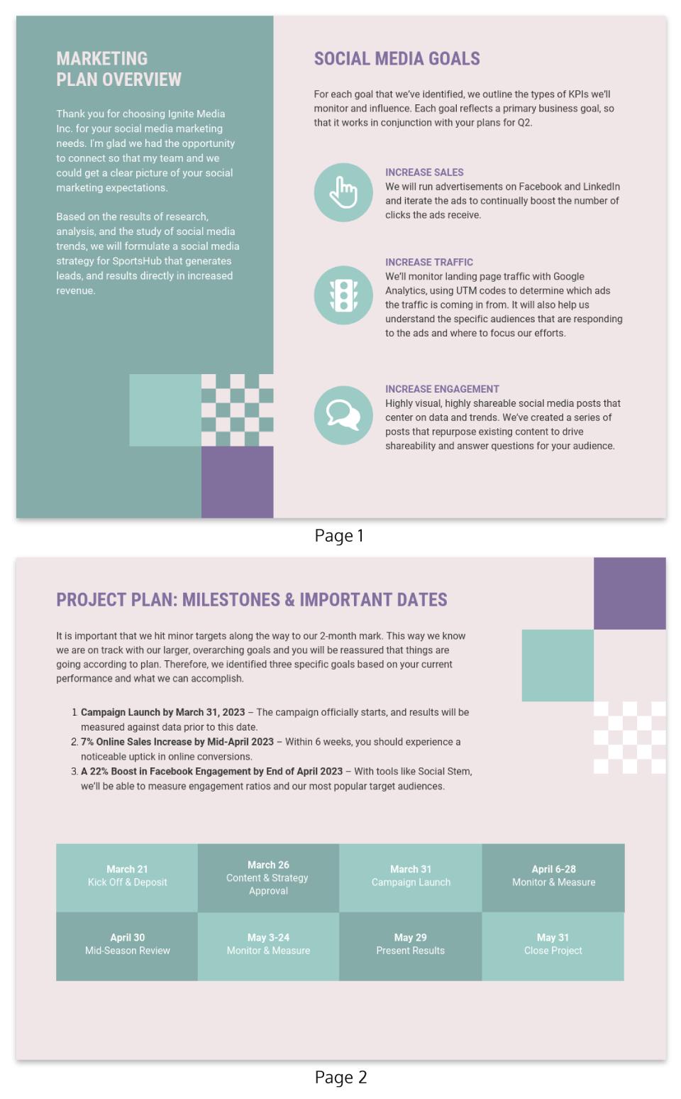 pastel social media marketing plan template template