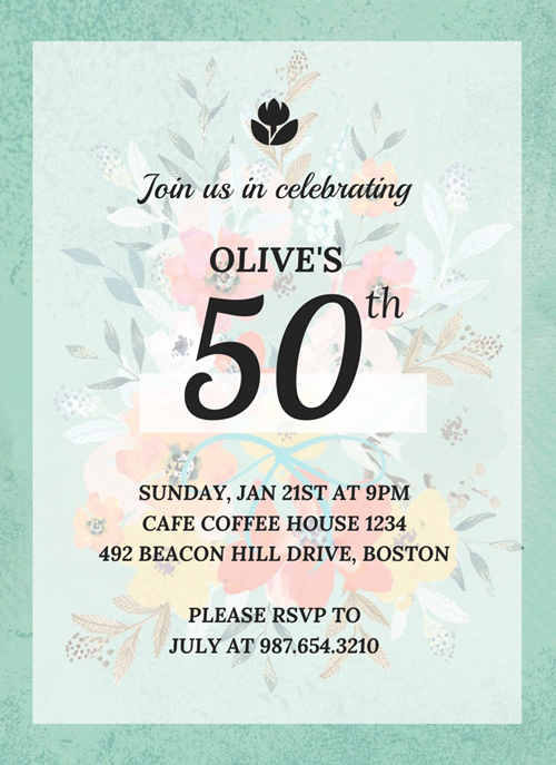 Vintage 50th Birthday Invitation