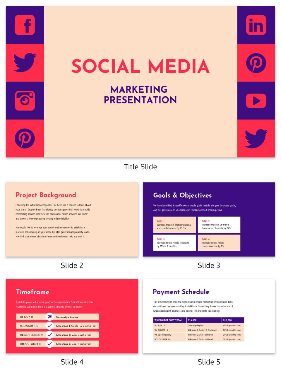Vibrant Social Media Presentation Template