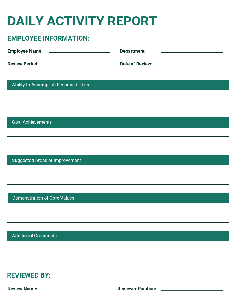 Simple Green Daily Activity Report Template