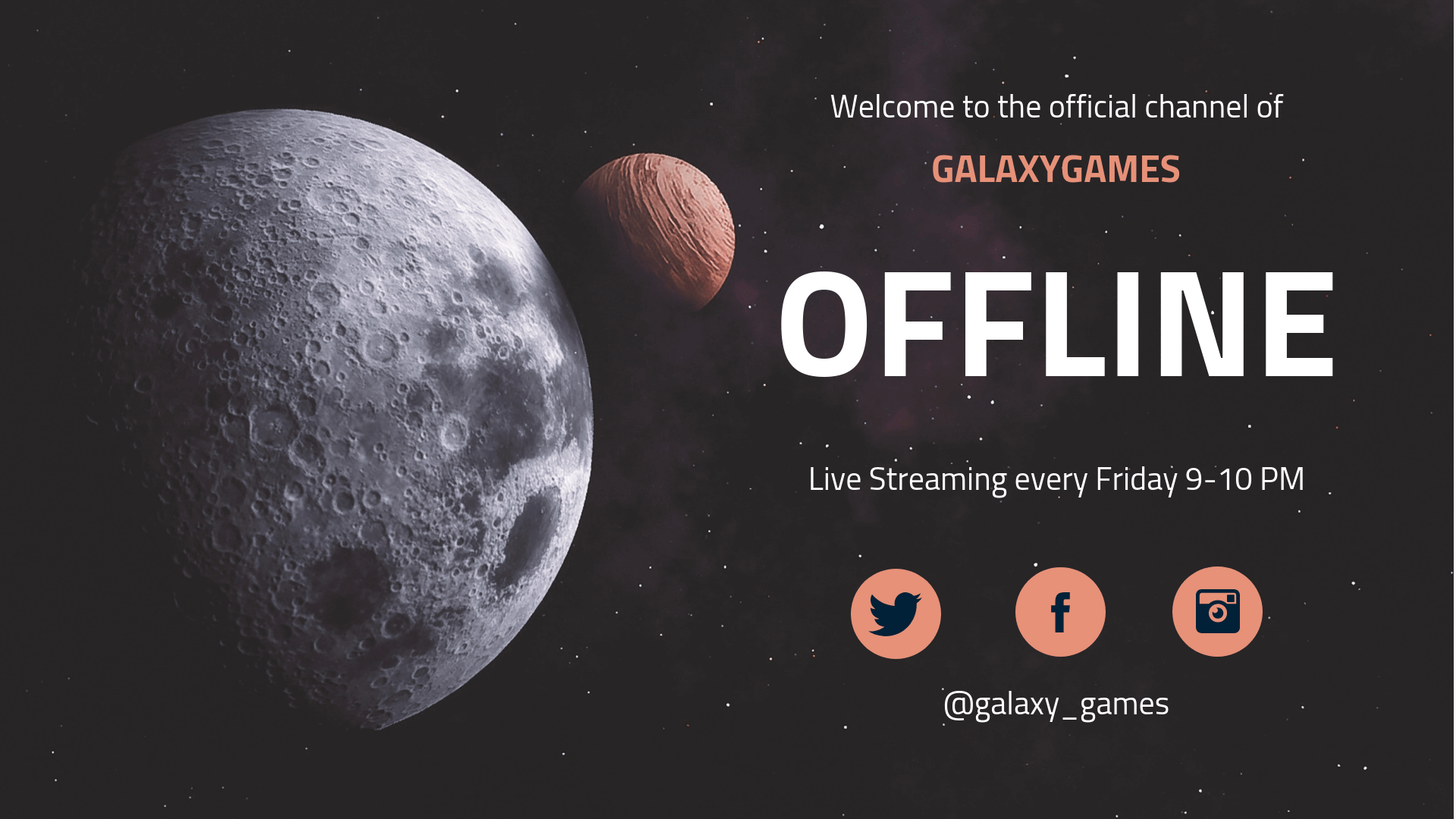 Planets Twitch Offline YouTube Banner Template