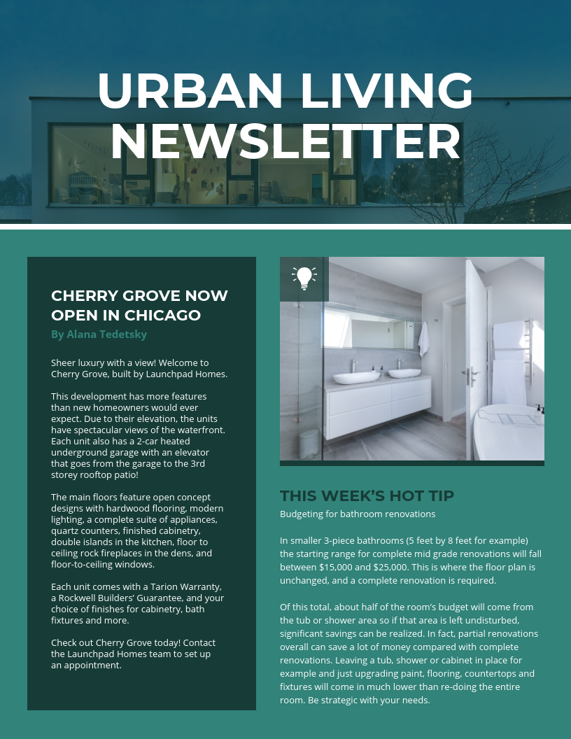 Dark Green Modern Real Estate Newsletter Template